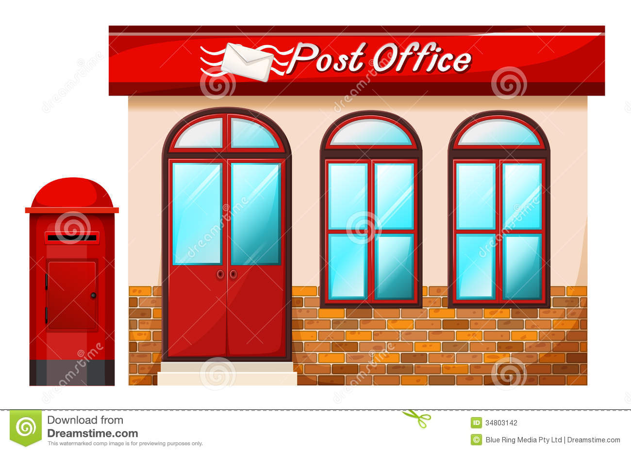 Illustration of a Post office on a white background.