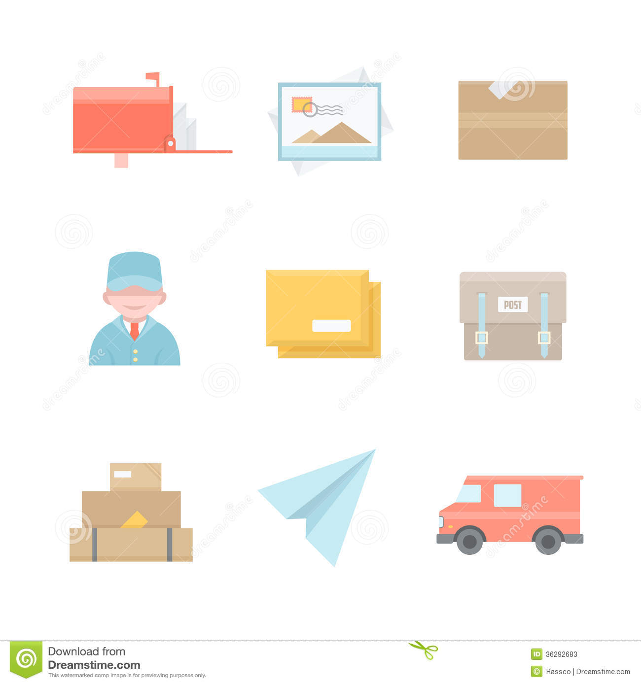 Post Office Related Icons Stock Vector. Illustration Of