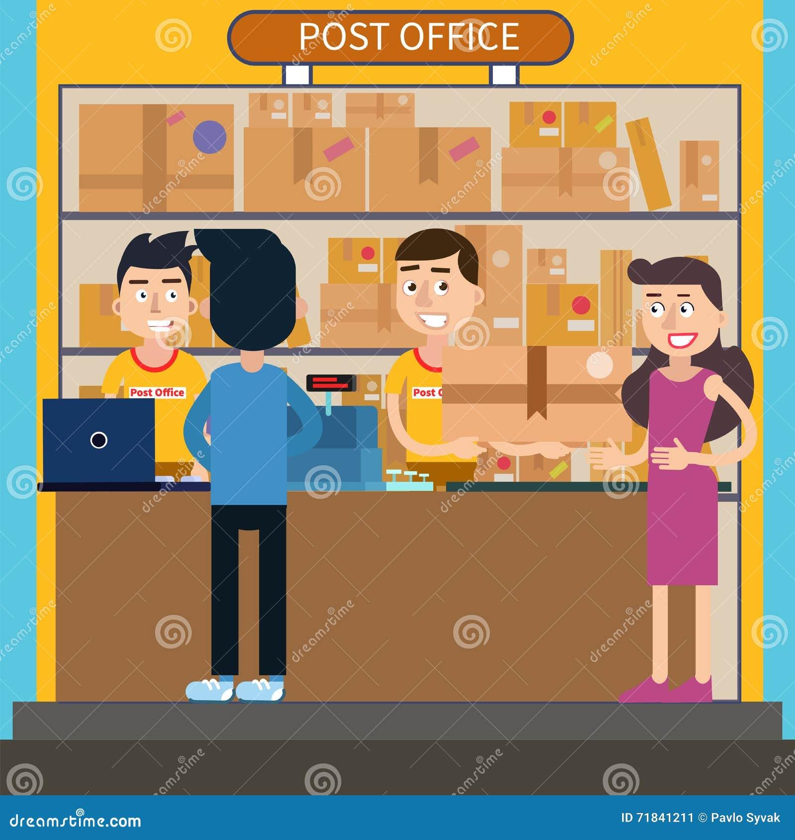 Post Service: Post Office. Woman Receiving Parcel. Postal Service