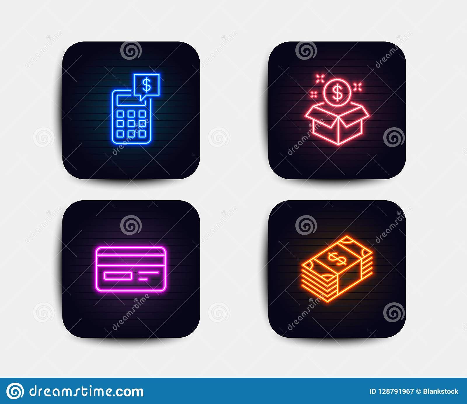 Post Package, Credit Card And Calculator Icons. Usd
