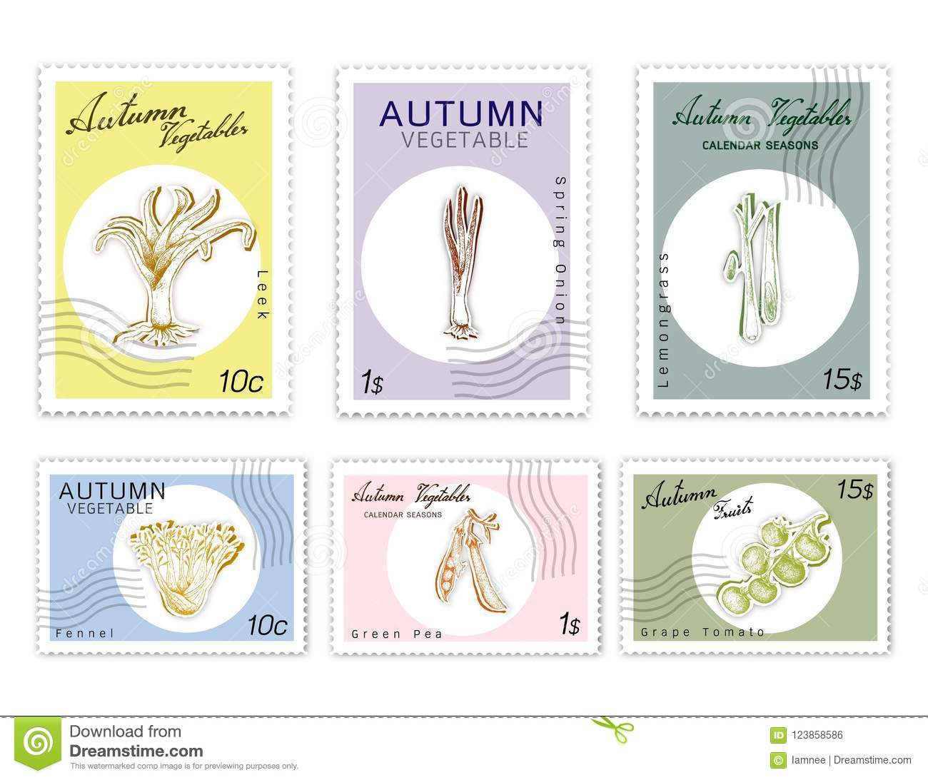 Post Stamps Set Of Autumn Vegetables With Paper Cut Art Stock Vector Origami Nut Spring Lemongrass Kurrat Or Broadleaf Wild Leek Onion Green Pea And Grape Tomatoes In Trendy Deep Carving Style