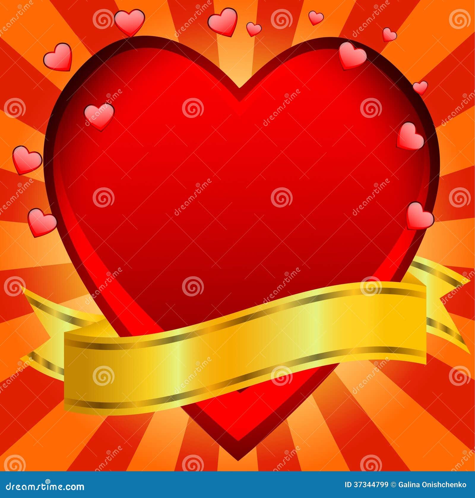 Post- till dagen av helgonet Valentin med en röd hjärta