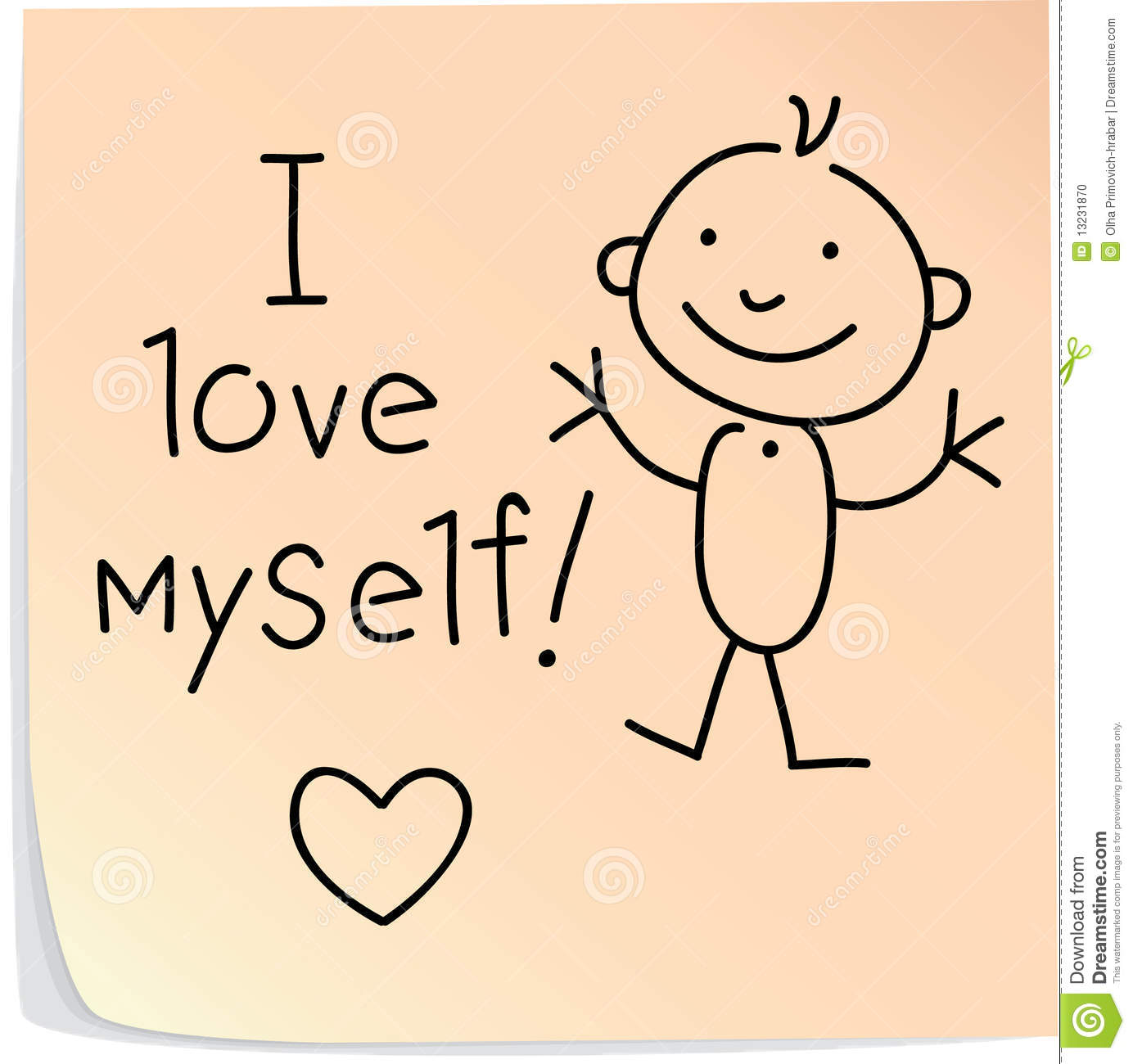 Post It With Words I Love Myself Stock Vector Illustration Of