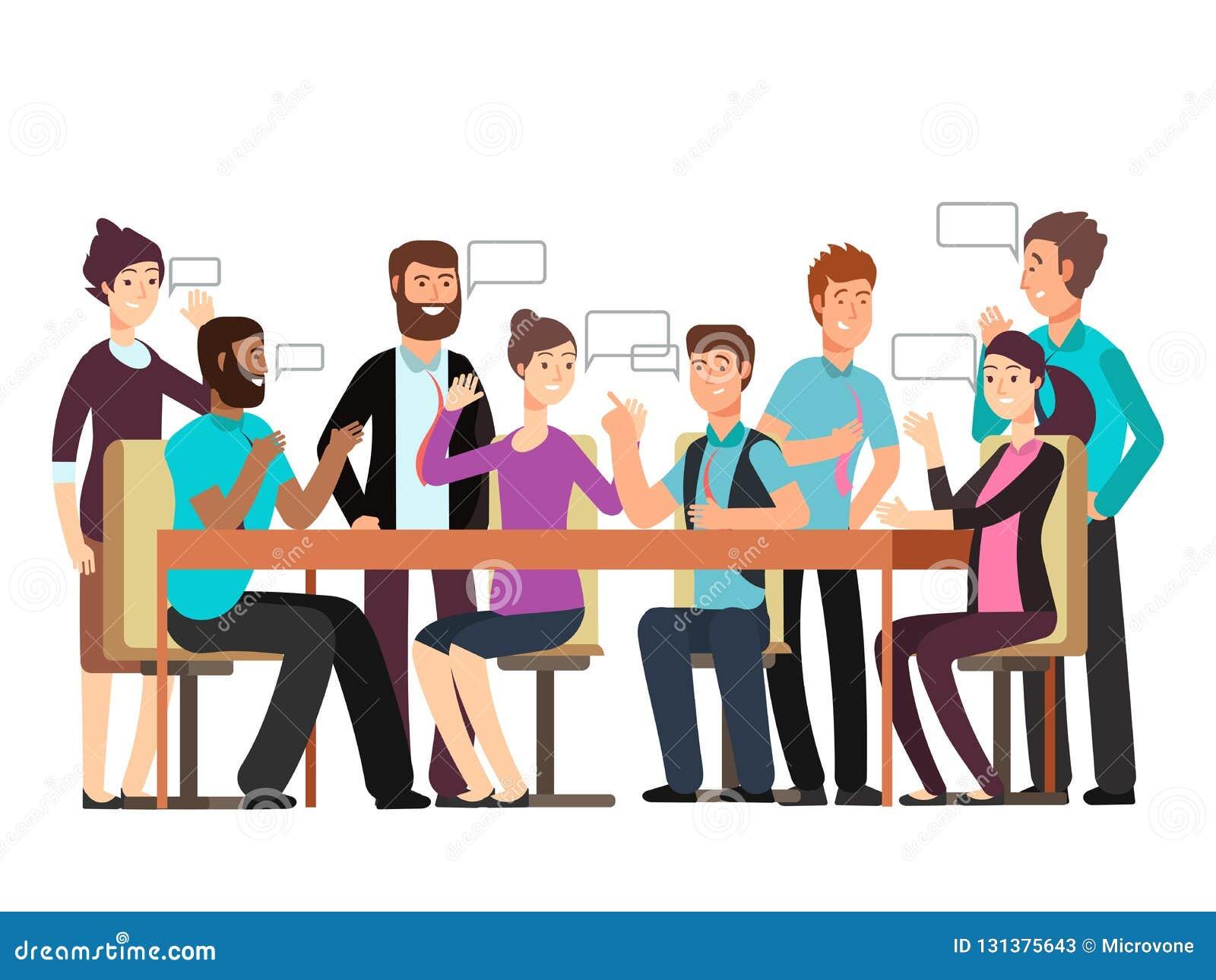 Postać z kreskówki biznesu drużyna rozmowę Kobieta i mężczyzna przy ranku spotkaniem