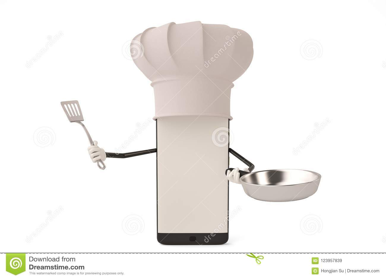 Postać z kreskówki smartphone garnek i kucharz ilustracja 3 d