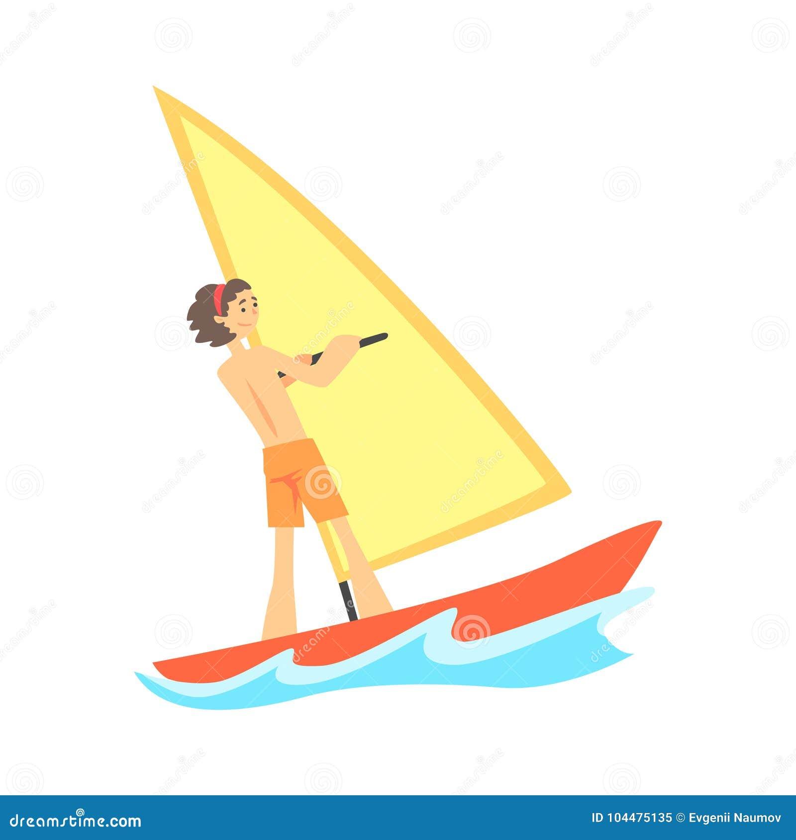 Postać z kreskówki windsurfing uśmiechnięty młody człowiek