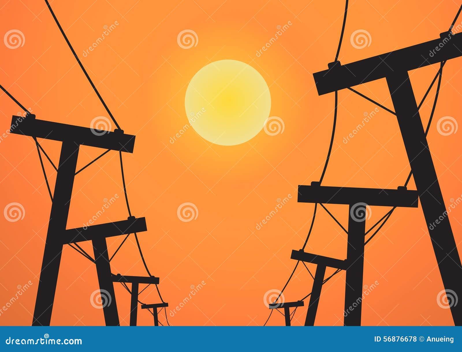Posta di elettricità della siluetta prima del tramonto