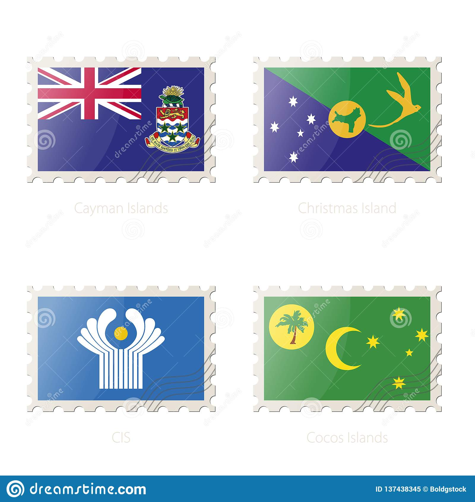 Christmas Island Flag.Postage Stamp With The Image Of Cayman Islands Christmas