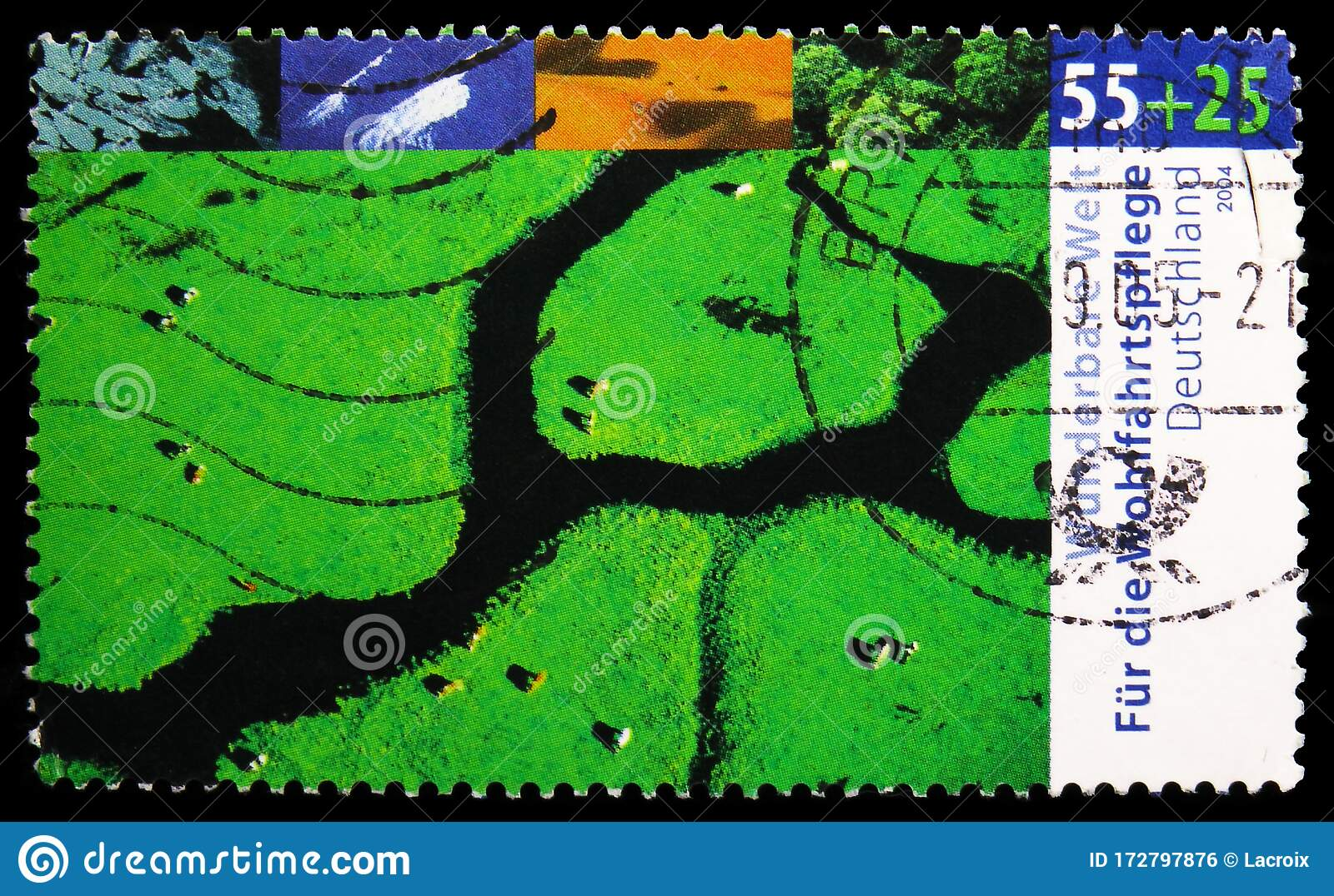 postage stamp printed in germany shows temperate latitude welfare wonderful world climates serie circa 2004 editorial photo image of hobby germany 172797876 dreamstime com