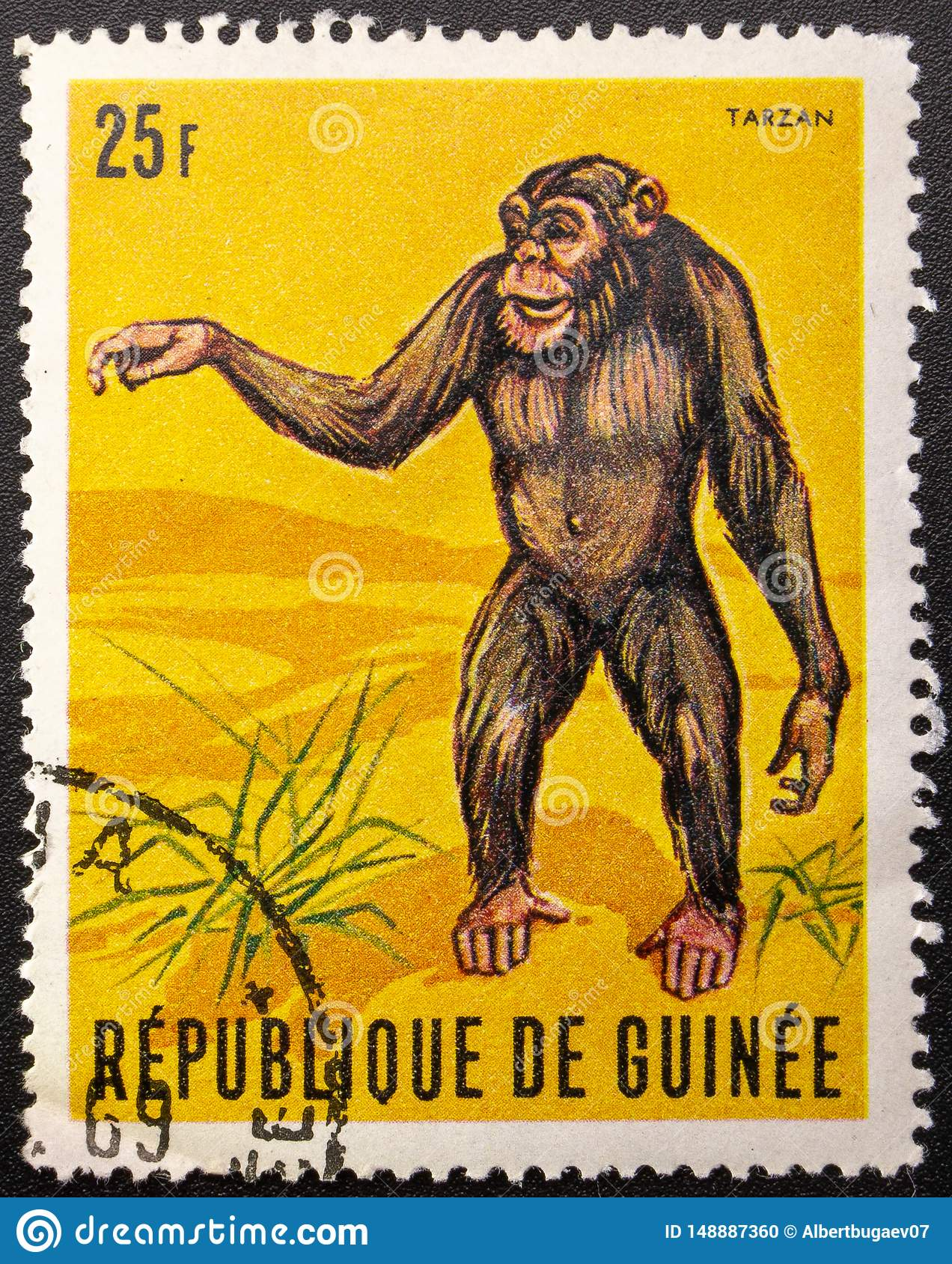 Postage Stamp. 1969. Republic of Guinea. Chimpanzee Tarzan