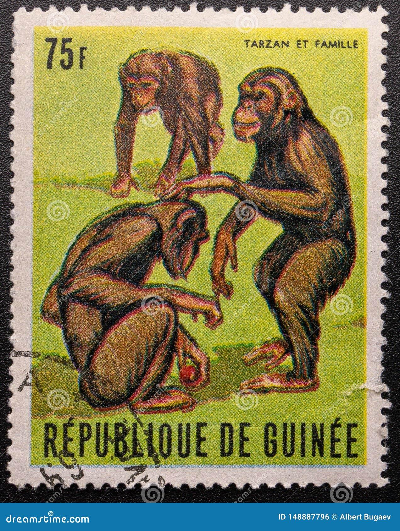 Postage Stamp. 1969. Republic of Guinea. Chimpanzee Tarzan