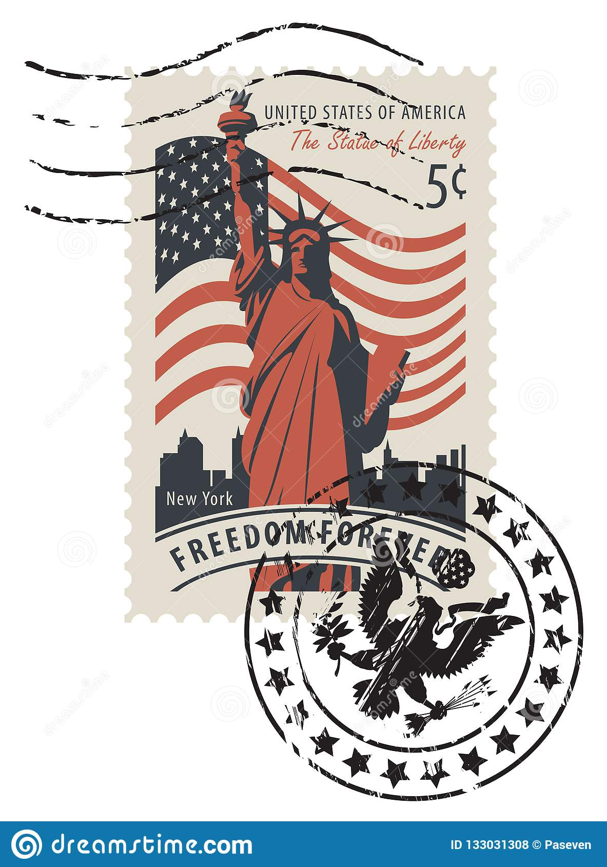 Vector Illustration Of A 5 Cent USA Postage Stamp With Postmark In Retro Style Statue Liberty Background American Flag And