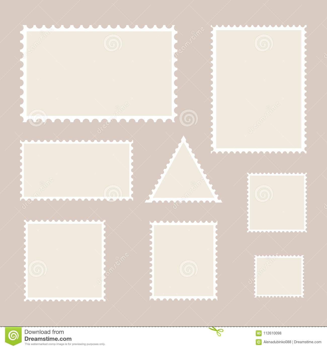 postage stamp template set of blank stamps stock vector
