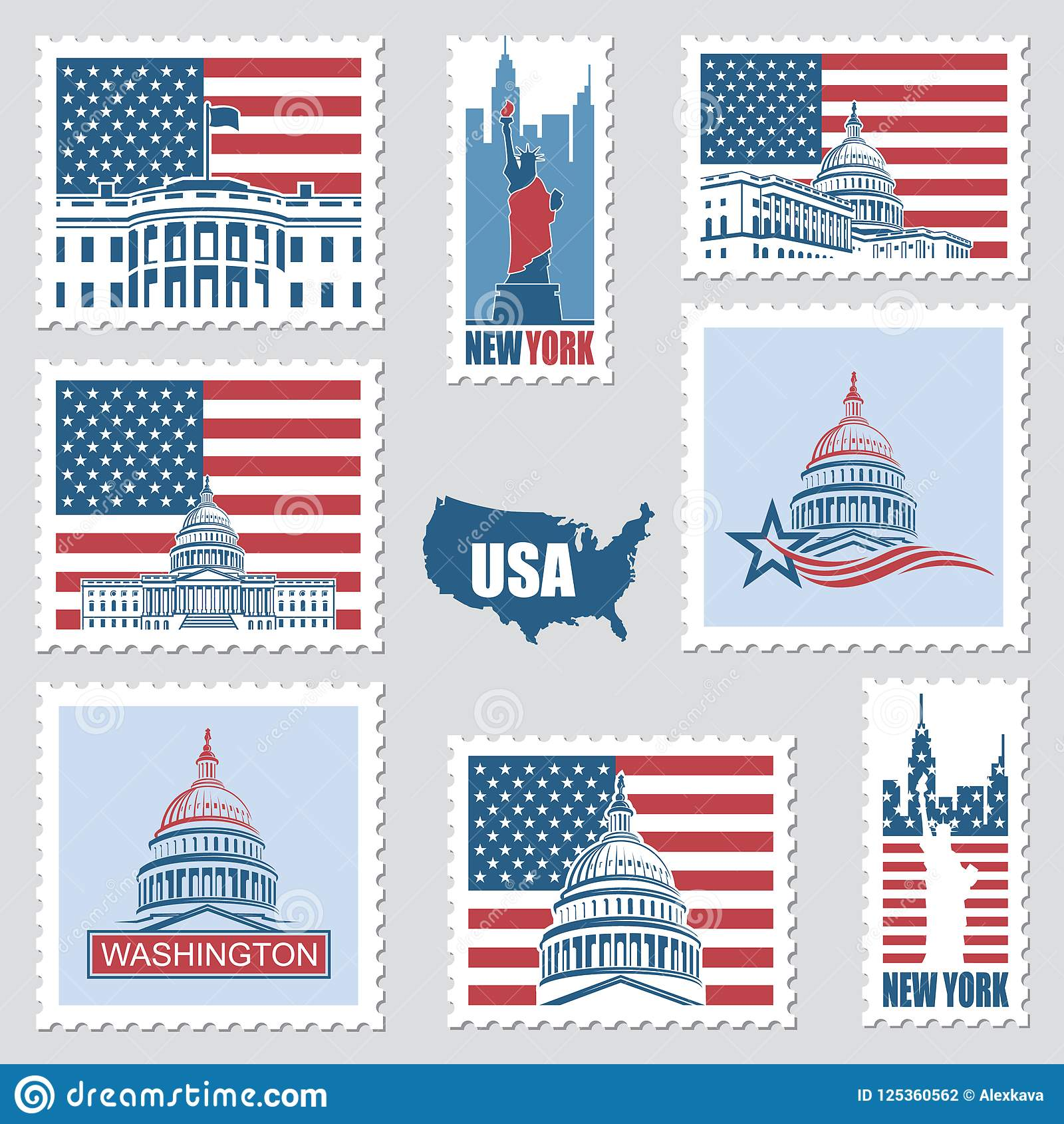 Postage Stamps With American Symbols Stock Vector Illustration Of