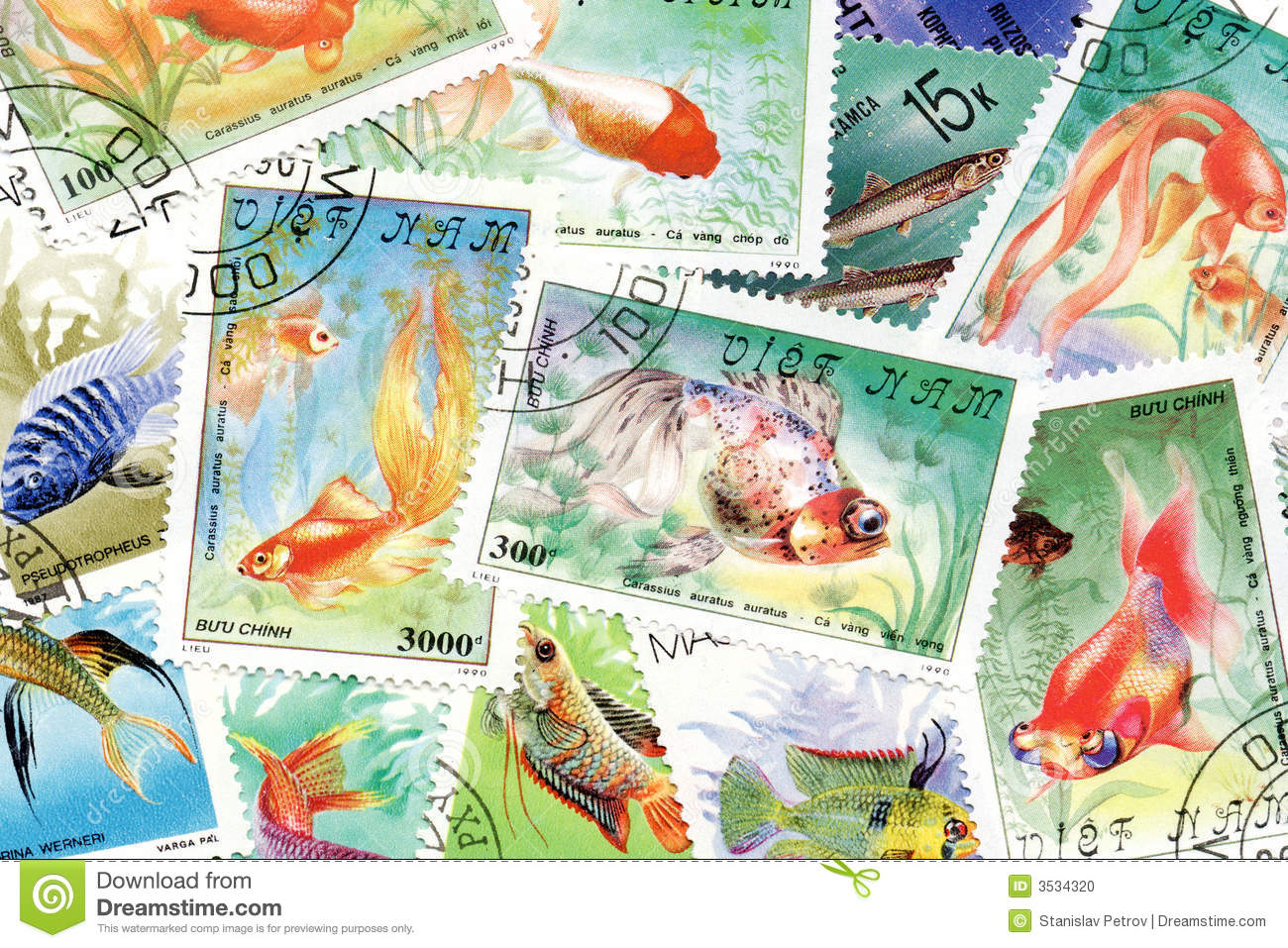 Postage stamps fish theme stock photo image 3534320 for Fish symboled stamp