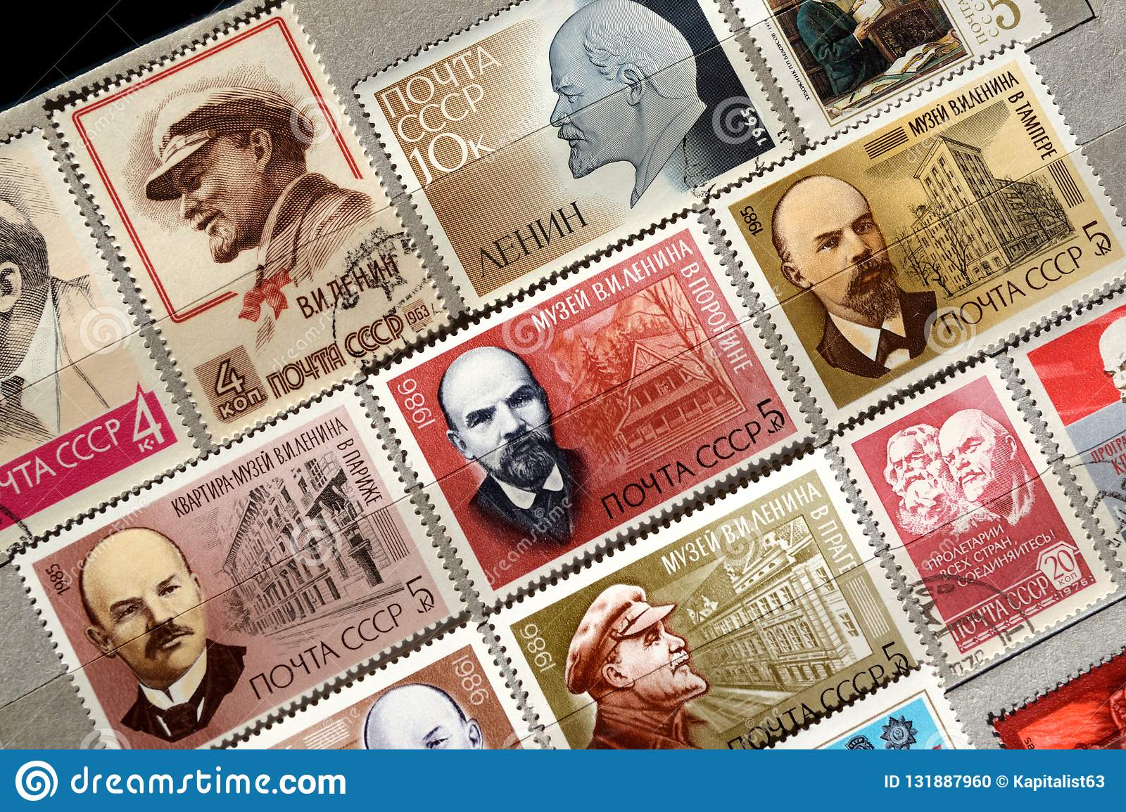Postage Stamps With The Image Of Lenin Editorial Image
