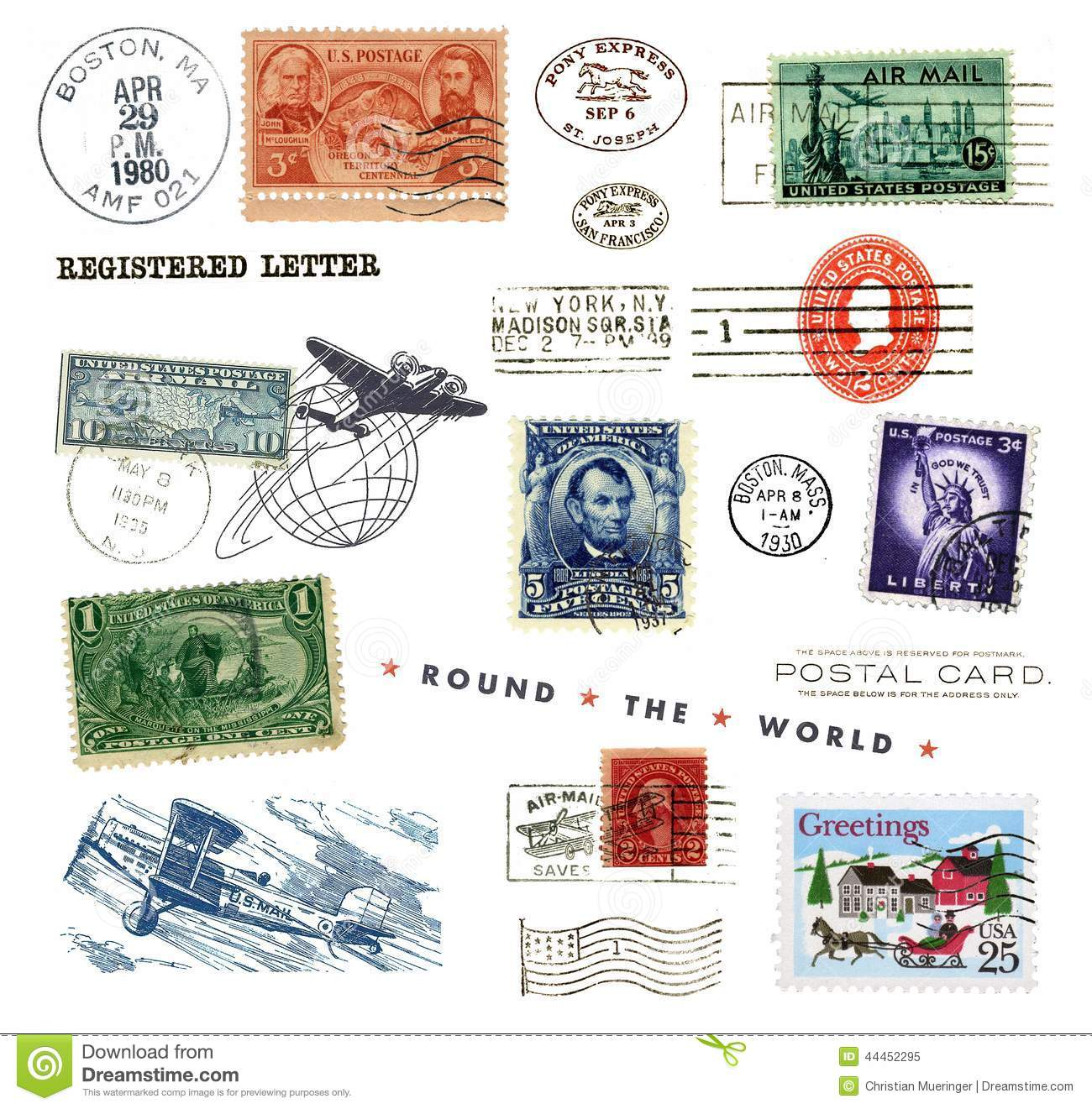 Postage Stamps And Labels From Us Stock Image Image Of Round