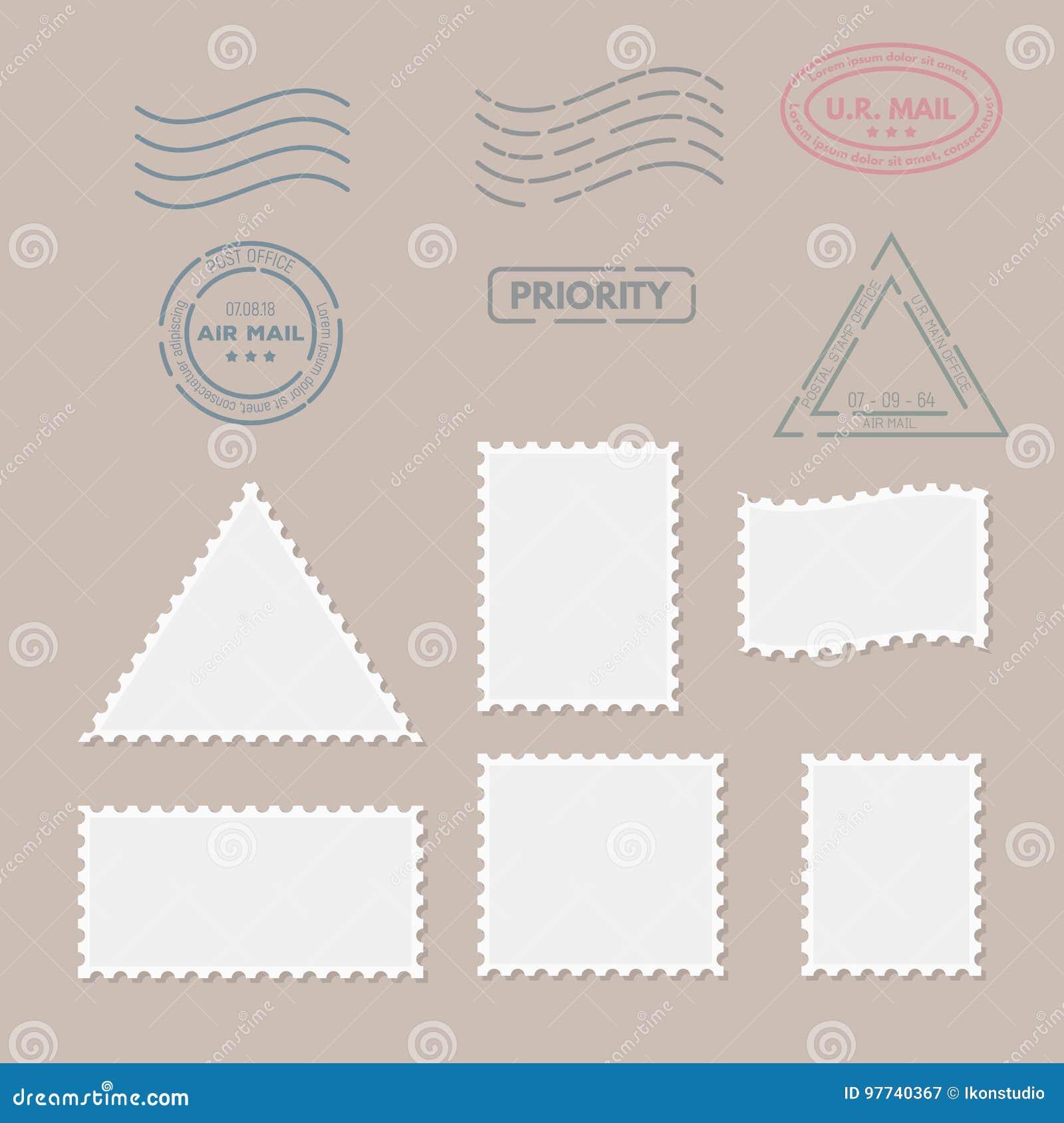 postage stamps for postcard stock vector illustration of envelope