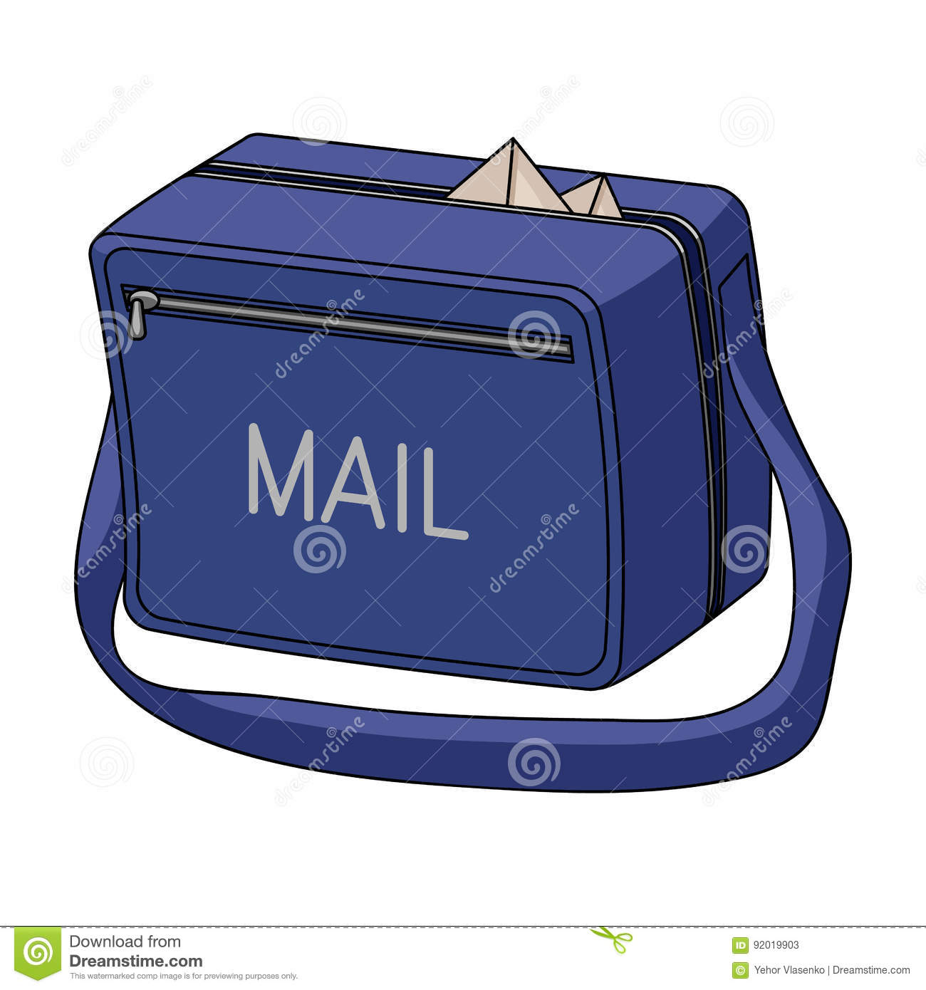 Postal Bag.Mail And Postman Single Icon In Cartoon Style
