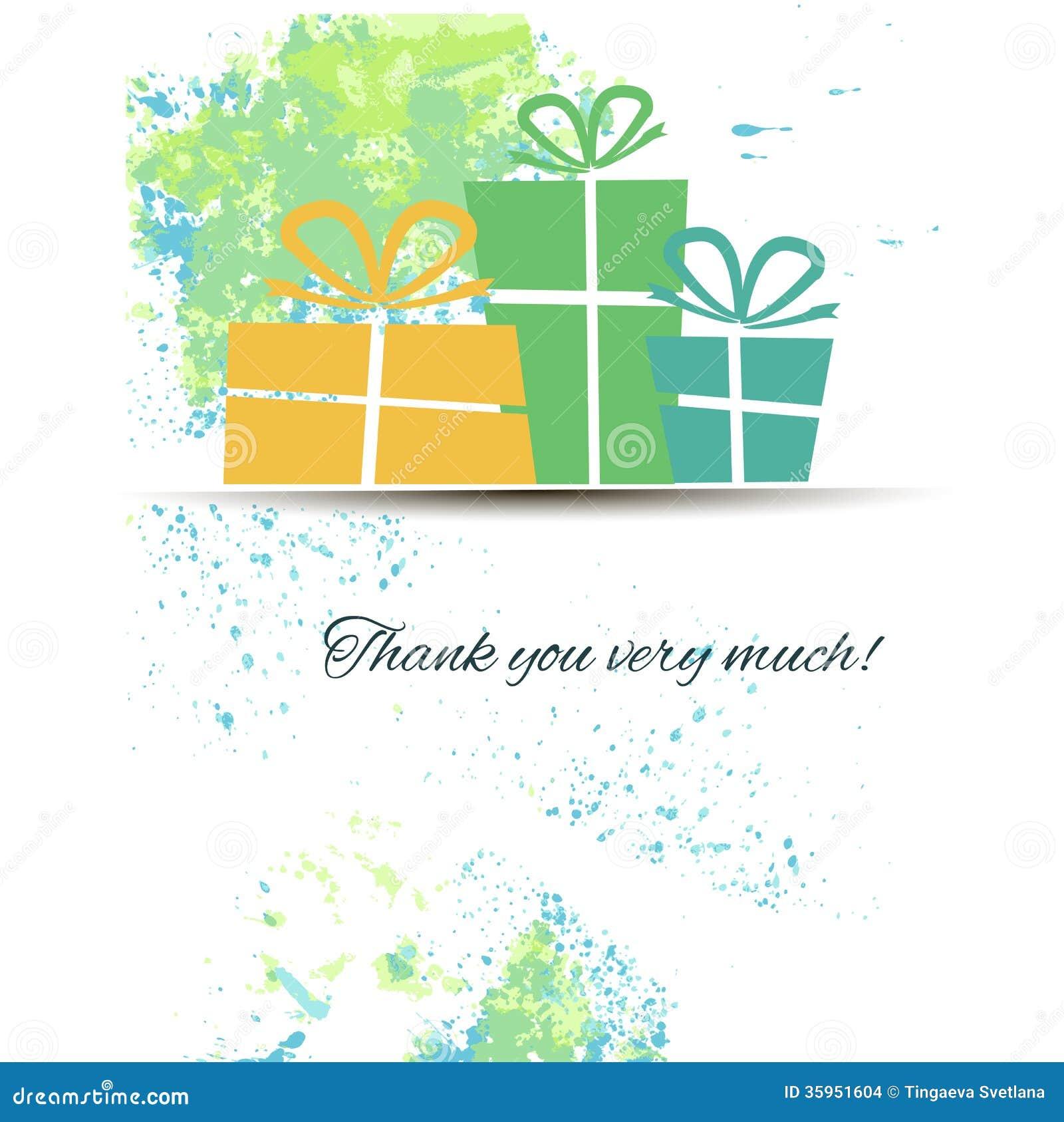 Postal con los regalos y gratitud en una acuarela
