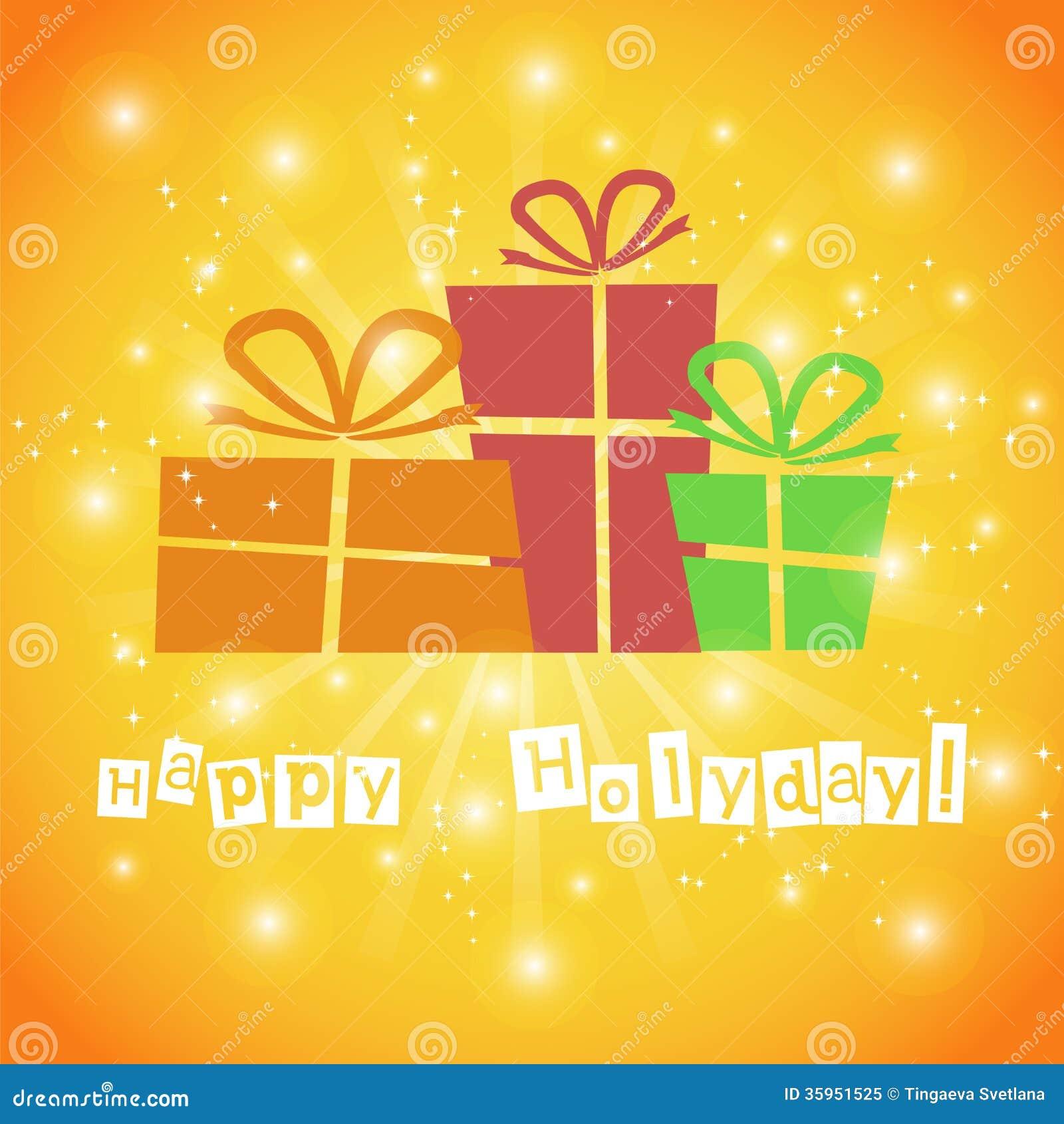 Postal con los regalos y los buenos deseos para un feliz