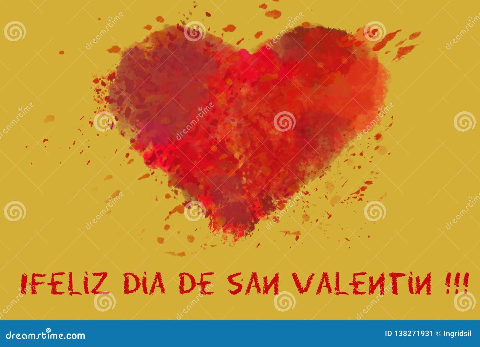 Postal de los saludos del día de tarjeta del día de San Valentín del St Día del ` s del amante Corazón rojo de la acuarela en fon