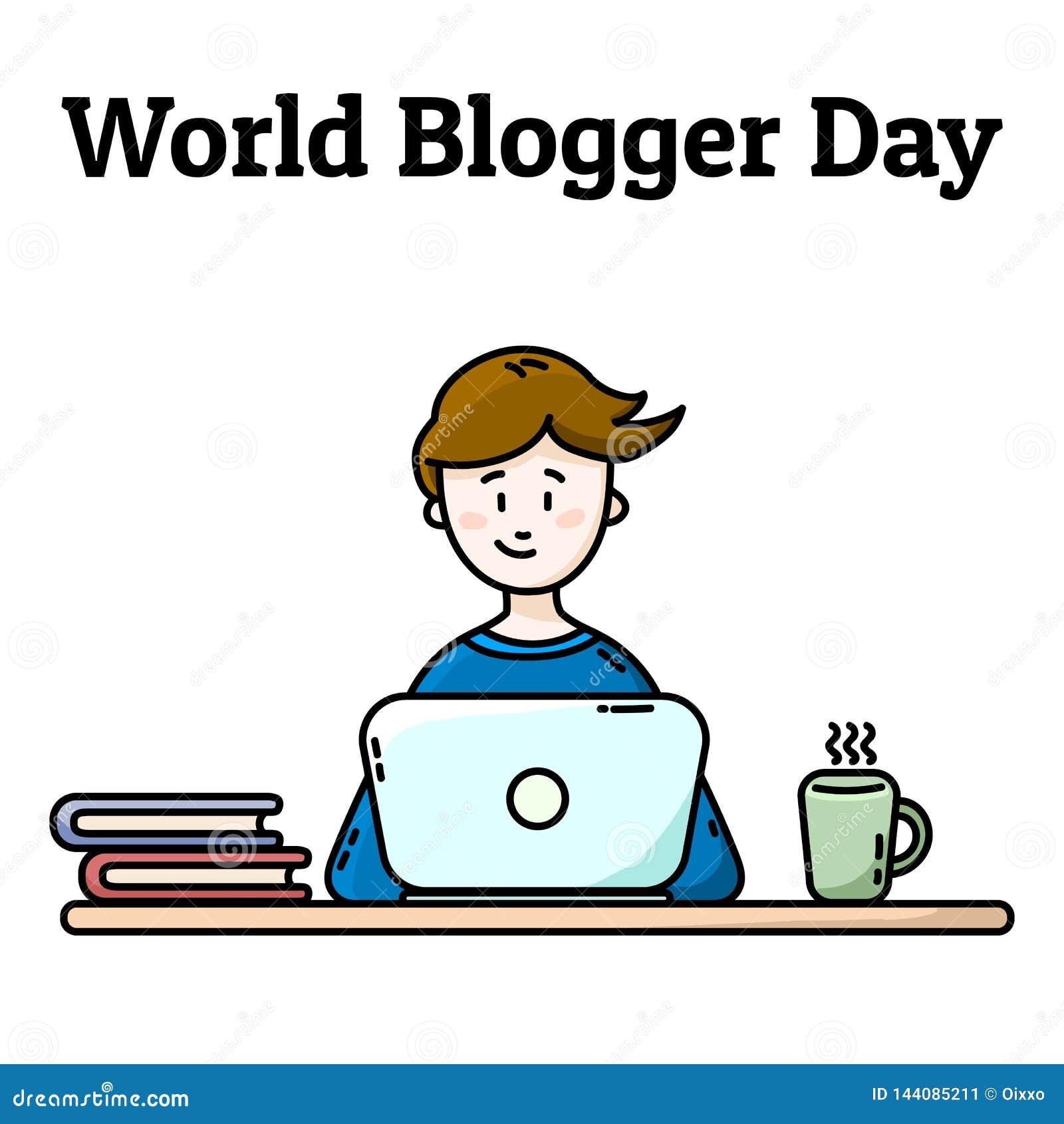 Postal del d?a del Blogger del mundo Muchacho con la computadora port?til