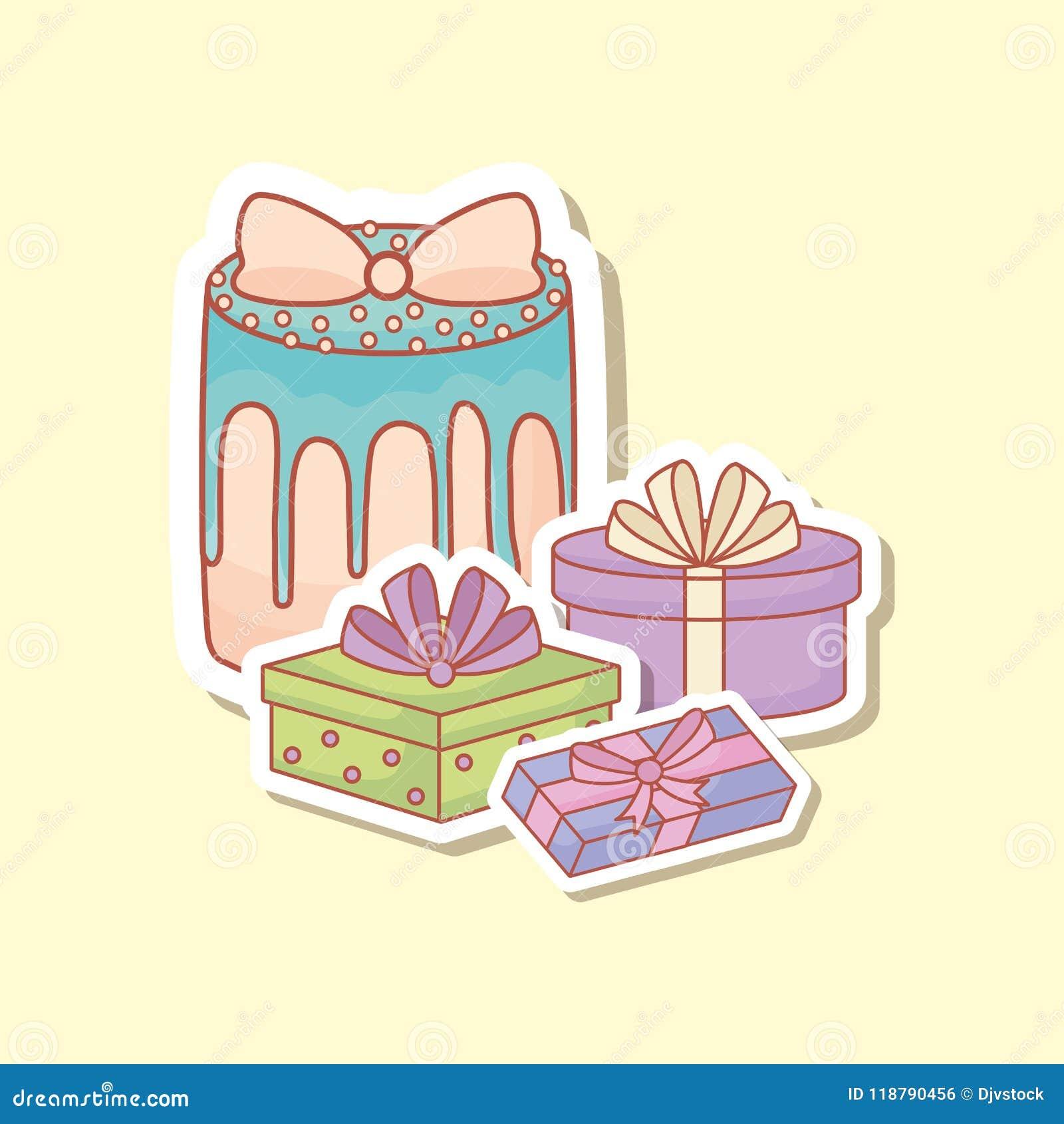 Postal del feliz cumpleaños con la torta y los regalos