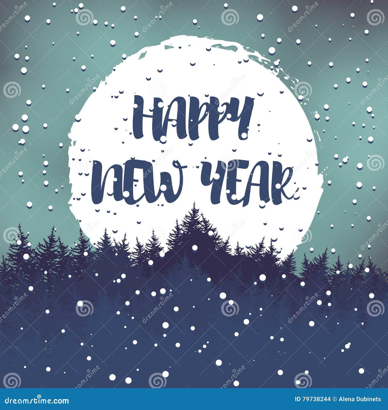 Postal del saludo del invierno con los deseos por una Feliz Año Nuevo Vector