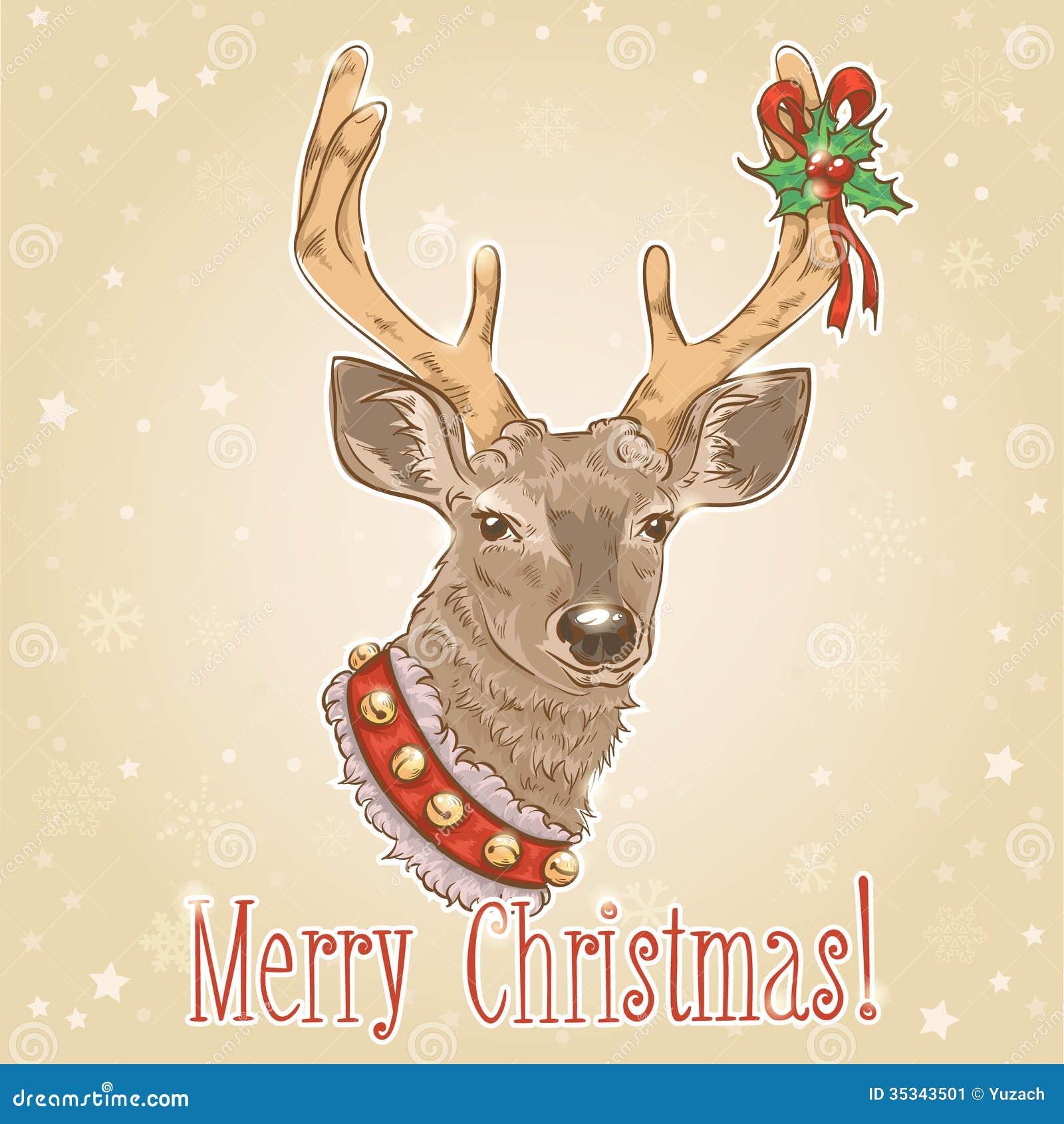 Postal Del Vintage De La Navidad Con Los Ciervos Ilustracion Del - Ciervo-navidad