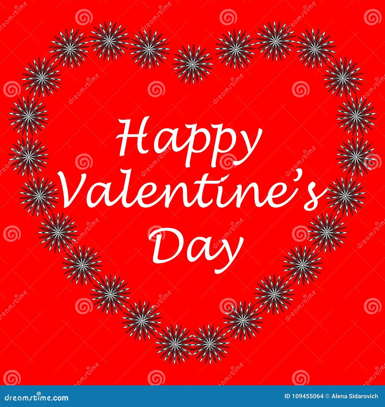 Postal en el estilo del arte del zen, día feliz del ` s de la tarjeta del día de San Valentín, corazón del flowe