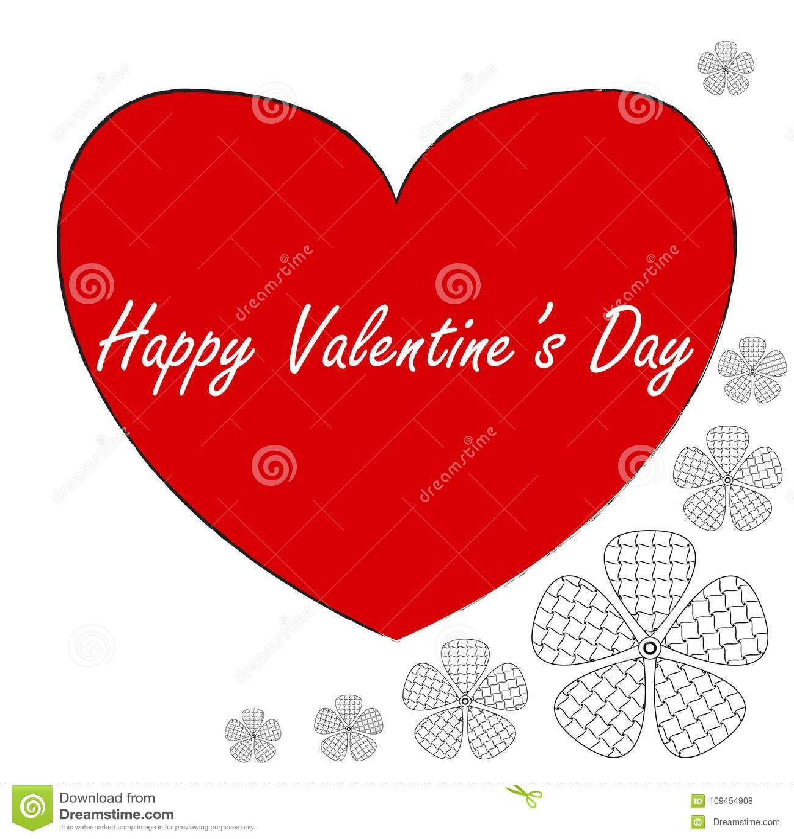 Postal en el estilo del arte del zen, día feliz del ` s de la tarjeta del día de San Valentín, corazón rojo con