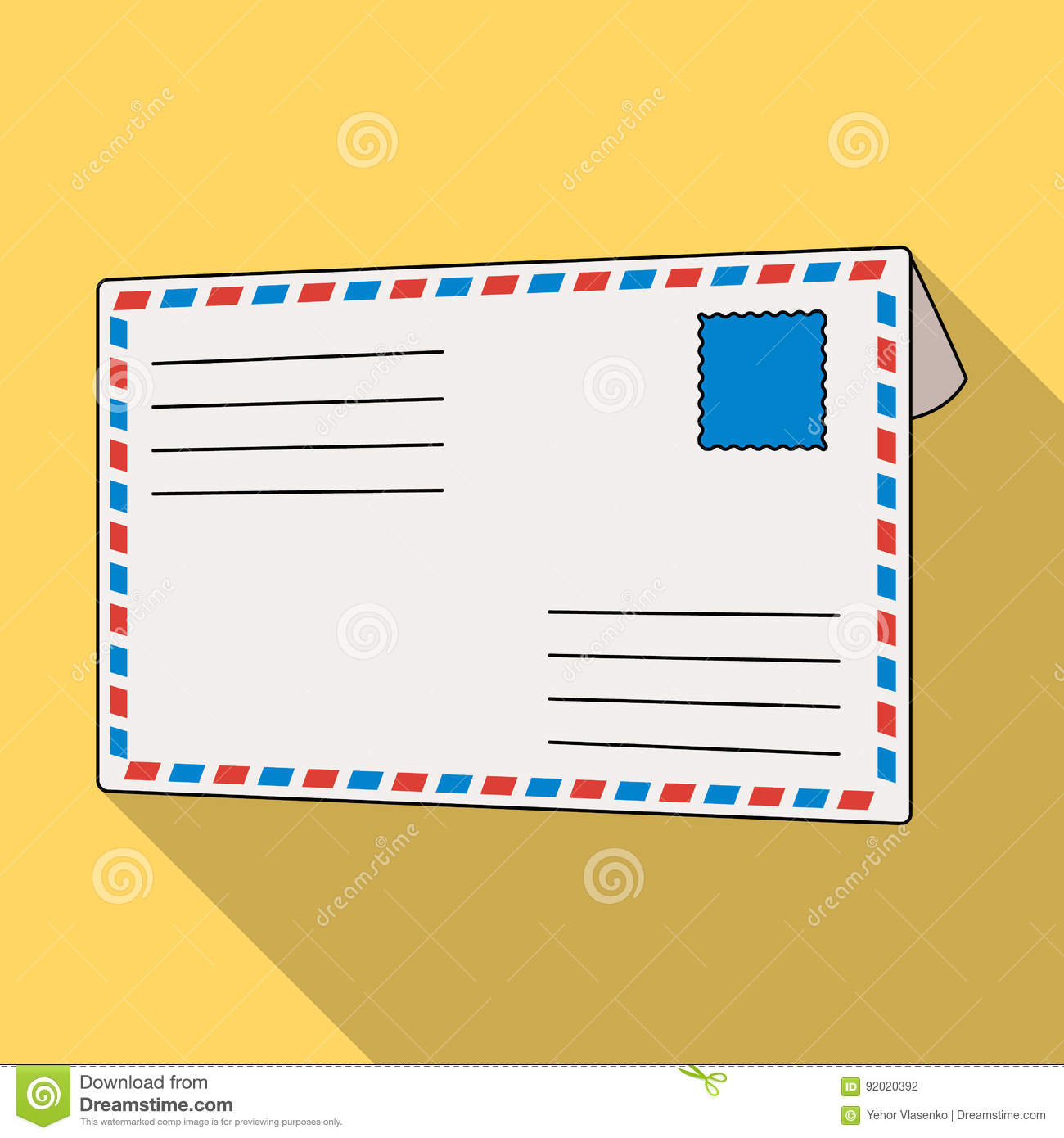 Postal Envelope.Mail And Postman Single Icon In Flat Style