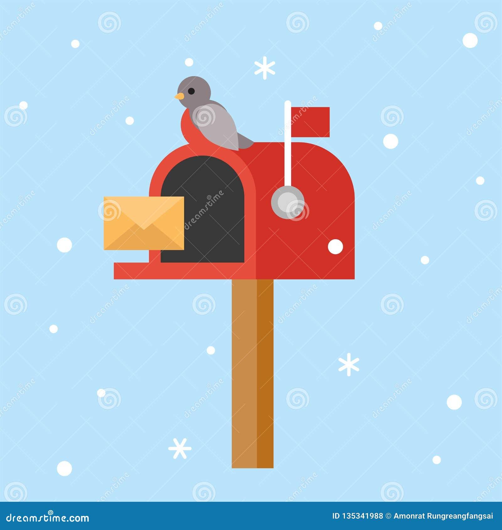 Postbox i ptak dla boże narodzenie tematu plakatowego płaskiego projekta