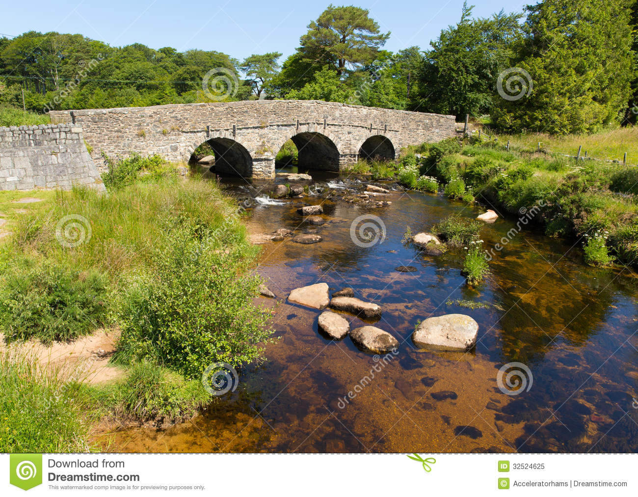 Postbridge clapper bridge Dartmoor National Park Devon England UK