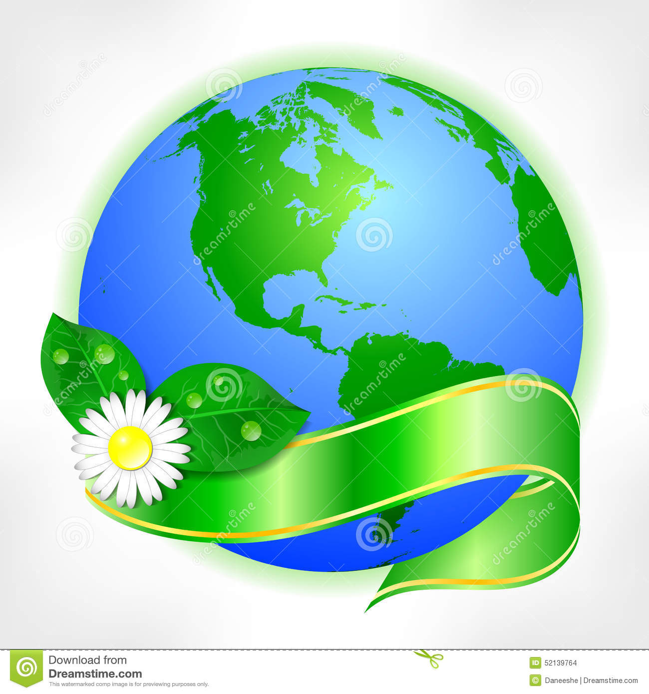 Postcard On April 22 - Earth Day. Globe With Green Ribbon And Flower ...