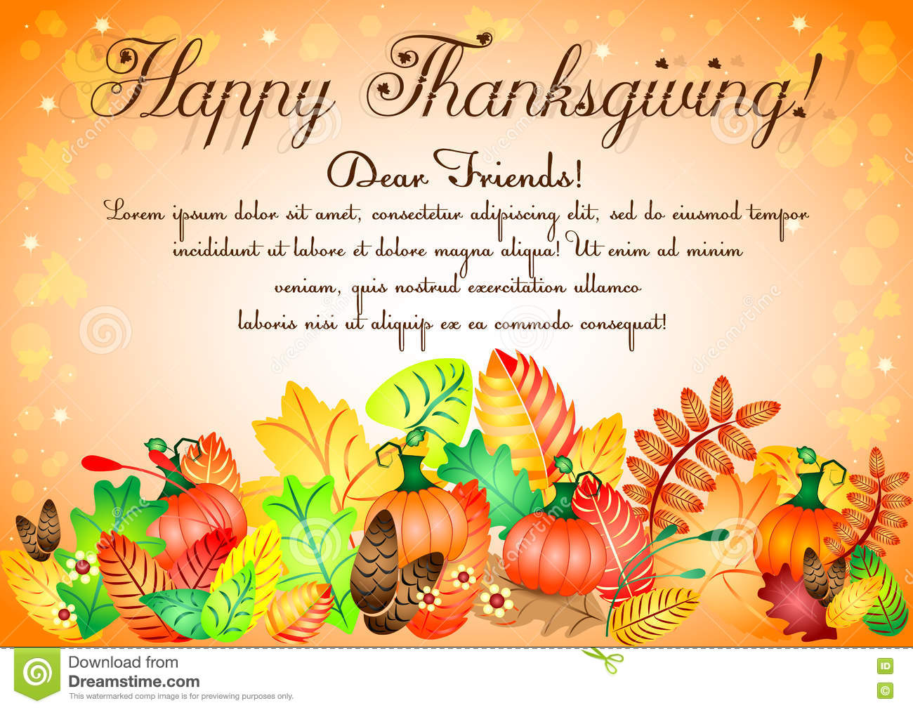 Postcard For Congratulations With Thanksgiving Stock Vector