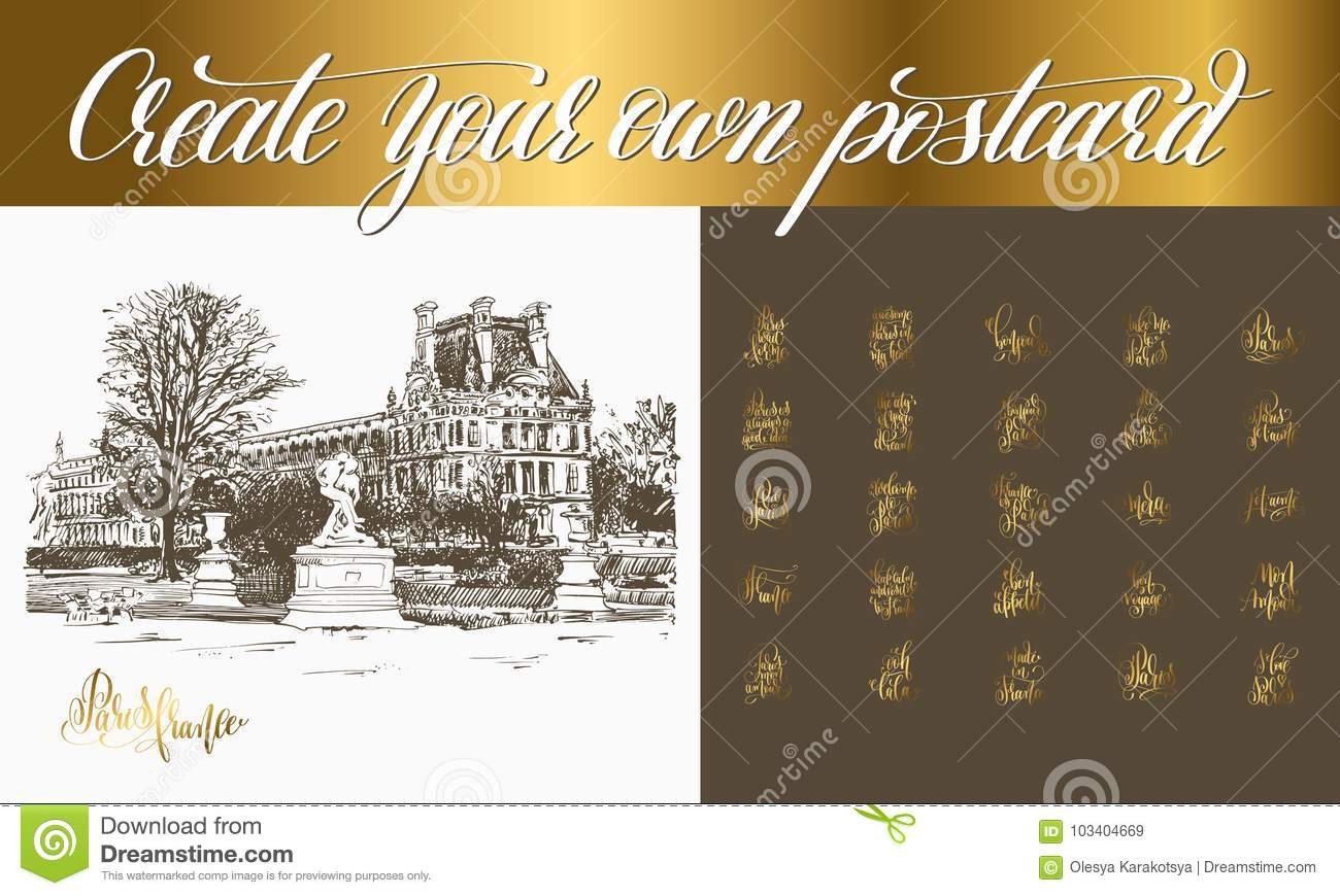 Postcard Creator With Sketch Drawing Of Louvre Paris Stock Vector
