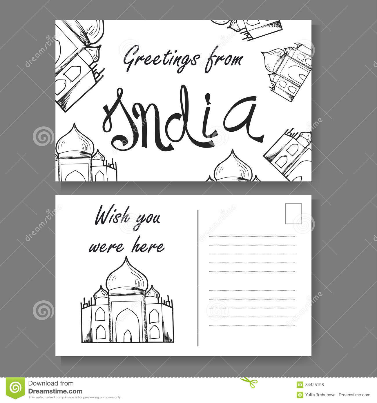 Postcard from delhi hand drawn lettering and sketch greetings from postcard from delhi hand drawn lettering and sketch greetings from india vector illestration m4hsunfo