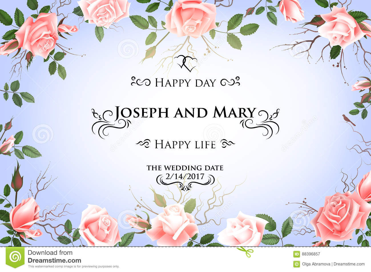 Postcard with delicate flowers roses wedding invitation thank you download postcard with delicate flowers roses wedding invitation thank you save the date maxwellsz