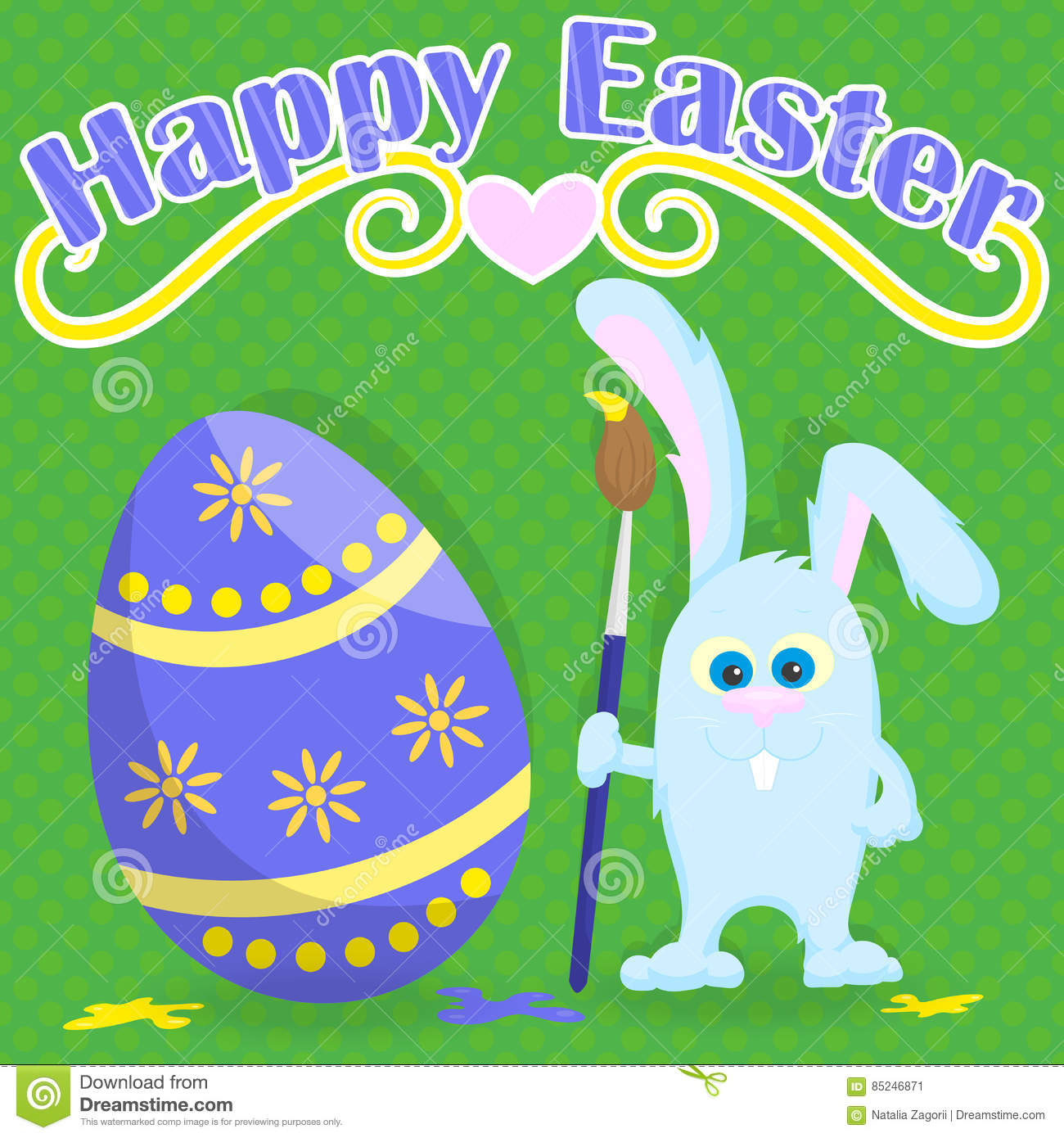 Postcard For Easter Funny Cartoon Easter Bunny With Paintbrush