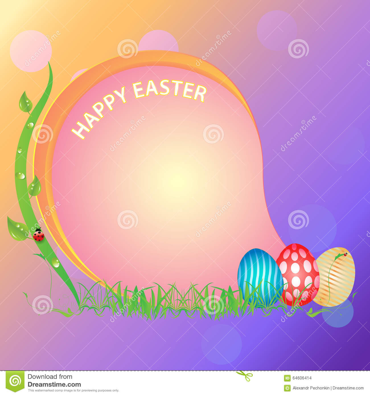 Postcard happy easter stock vector image 64606414 - What are the easter colors ...