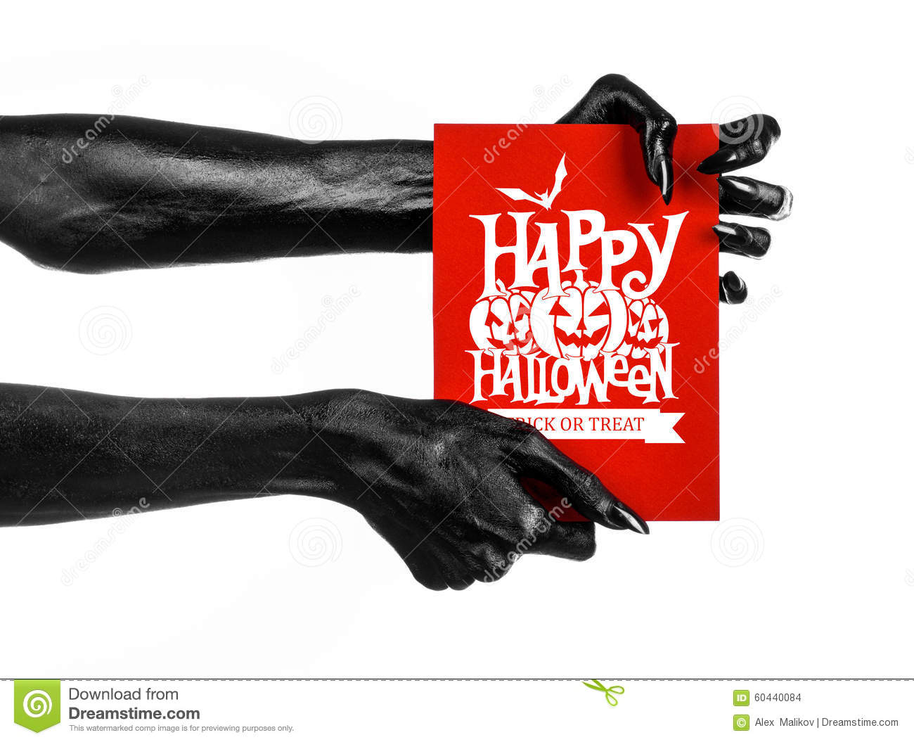 Postcard and Happy Halloween theme: black hand of death holding a paper card with the words Happy Halloween on a white isolated ba