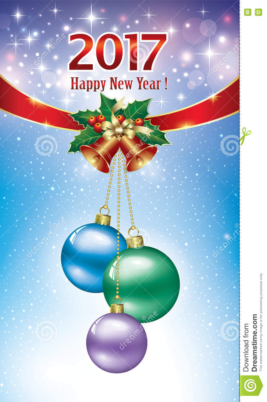 Postcard happy new year with balls and bells stock