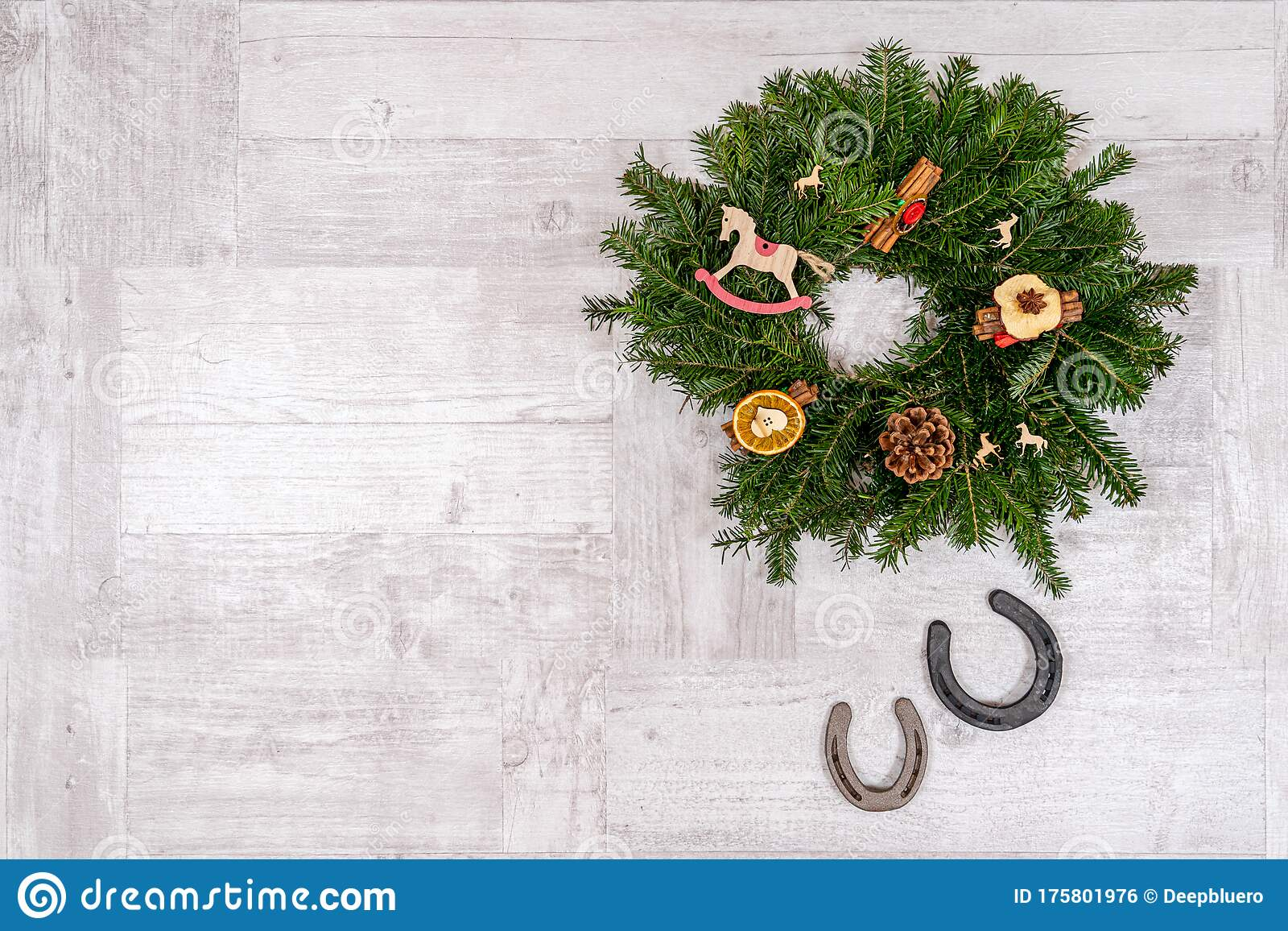 Postcard With Horseshoe And Horse Christmas Decorations On A Wooden Background Stock Photo Image Of Riding Seasonal 175801976