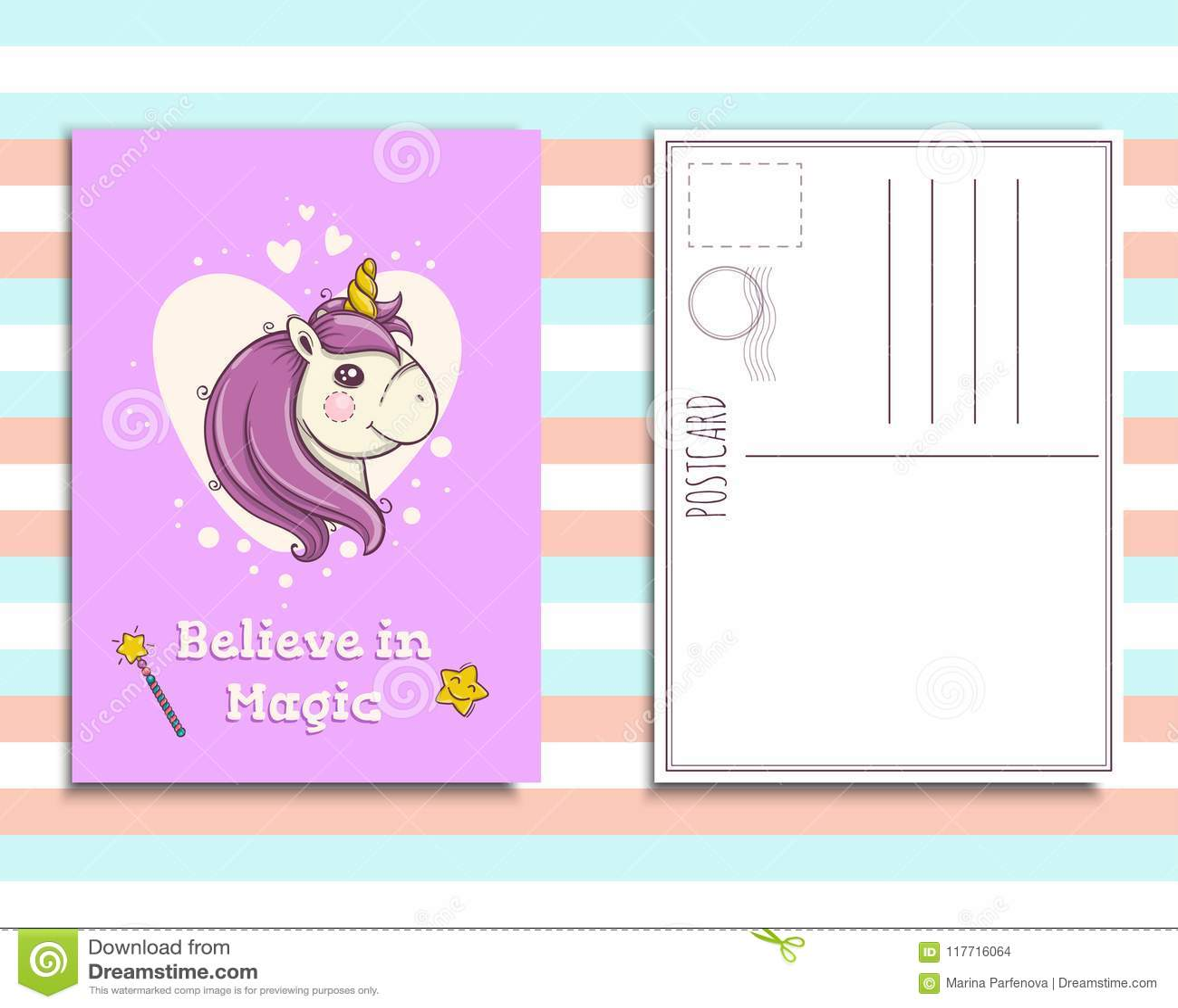 Postcard Invitation Template With Cute Unicorn Portrait Stock Vector - Portrait postcard template