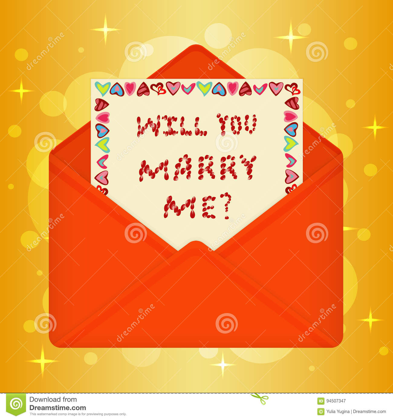 Postcard With Message Will You Marry Me Stock Vector Illustration