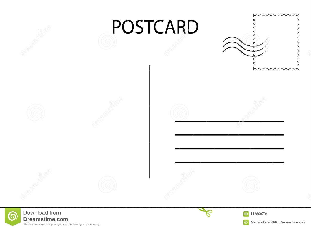 Postcard. Postal Card For Travel. Blank Airmail Template Stock ...