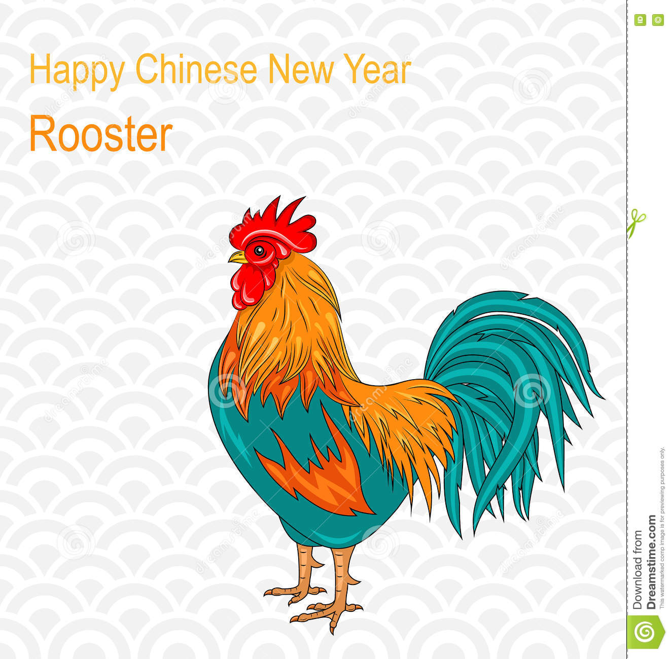 Chinese Calendar Illustration : Postcard with rooster as symbol chinese new year