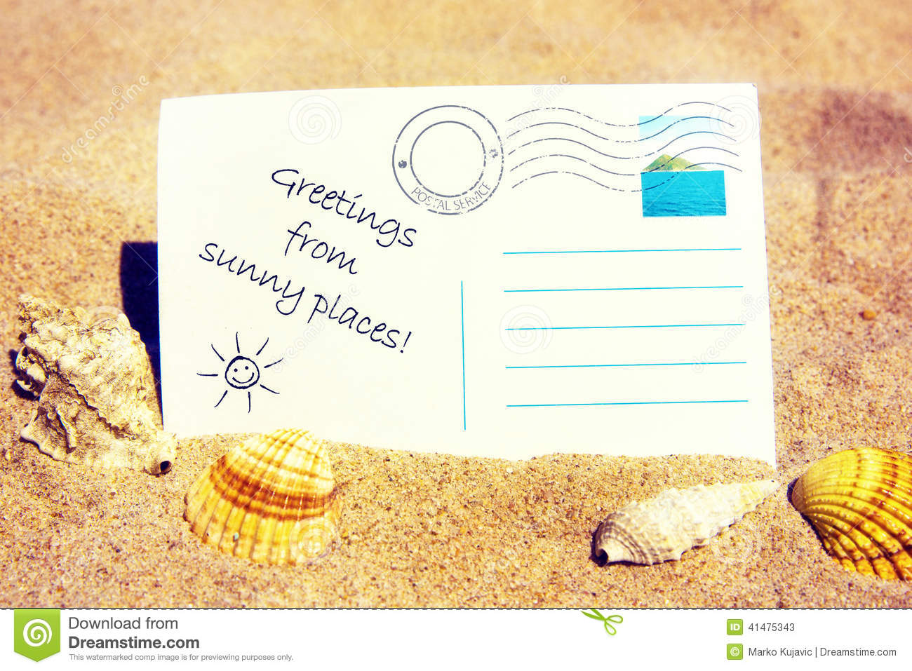 Postcard On A Sandy Beach Stock Photo Image 41475343